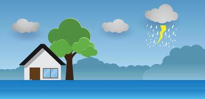 Flood natural disaster with house, heavy rain and storm , damage with home, clouds and rain, flooding water in city, Flooded house. vector