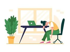 Exhausted woman sitting at the table. Professional burnout concept illustration. Frustrated, tired female office worker, deadline, mental health problem. Flat vector illustration.