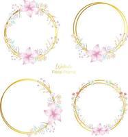 Watercolor floral Golden frame free vector