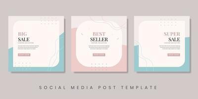 Creative fashion sale social media post template. Feminine background for brochure, flyer, banner, etc. Vector illustrator.