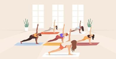 Yoga class. Group of people in the studio practicing yoga with the yoga instructor. Vector illustration