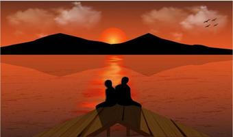 illustration vector graphic of the view of the sunset on the river and the mountain, two people are dating while watching the sunset