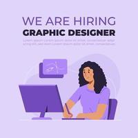 Estamos contratando un concepto de diseñador gráfico en diseño plano. vector