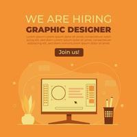 estamos contratando un concepto de diseñador gráfico. vector