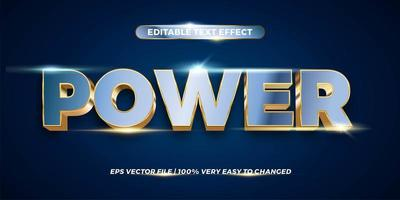 Text effect in 3d Power words text effect theme editable metal gold chrome color concept vector