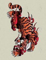 tigre japón fuego vector