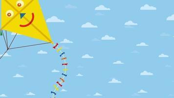 bonne carte de voeux animée de la journée internationale des enfants sur fond de ciel bleu video