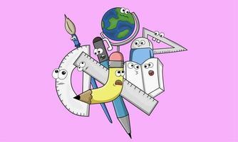 design doodle art school tools theme vector