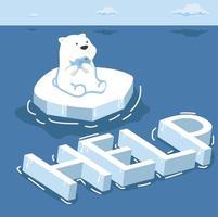 Polar bear North pole Arctic global warming vector