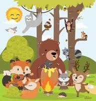 Cute woodland forest animals cartoon character vector