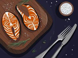 Dinner with red fish, fork and knife, salt vector
