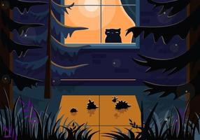 Hedgehogs in the forest and a cat in the house. Night vector