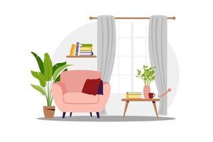interior del living con muebles. sillón moderno con mini mesa. estilo de dibujos animados plana. ilustración vectorial. vector