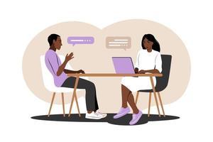 conversación de entrevista de trabajo. reunión africana del gerente de recursos humanos y del candidato del trabajo para la entrevista. ilustración vectorial. plano. vector