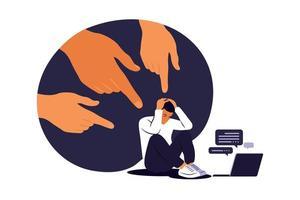 concepto de acoso cibernético. hombre deprimido sentado en el suelo. opinión y la presión de la sociedad. vergüenza. vector plano