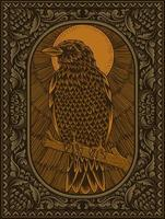 illustration antique crow bird on engraving ornament vector