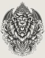 illustration vector lion head with vintage engraving ornament