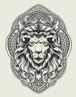illustration lion head with vintage engraving ornament vector