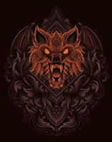 illustration wolf head with vintage ornament style vector