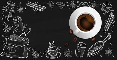 Coffee background with realistic cup of coffee - Vector photo