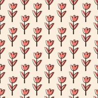 Simple Orange Floral Seamless Pattern vector