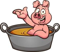 Pig bathing in casserole vector