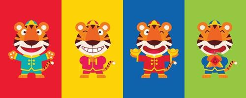 2022 chinese new year. Collect set of flat design cartoon cute tiger wearing chinese traditional costume with different poses on colourful background vector