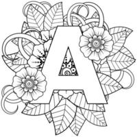 Letter A with Mehndi flower. decorative ornament in ethnic oriental style. coloring book page. vector