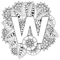 Letter W with Mehndi flower. decorative ornament in ethnic oriental style. coloring book page. vector