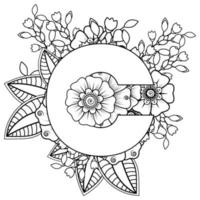 Letter C with Mehndi flower. decorative ornament in ethnic oriental style. coloring book page. vector