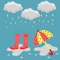 Rubber boots and an umbrella in the rain in a puddle. Template banner of rainy weather. vector