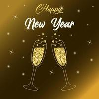 Two sparkling glasses of champagne with gold glitter. vector