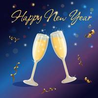 Two sparkling glasses of champagne with bubbles and serpentine. vector