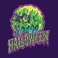 Skull Melting Halloween Text Illustrations vector