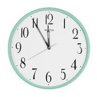 Round clock shows five minutes to twelve photo