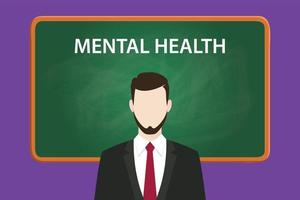 mental health illustration with a bearded man wearing black suit vector