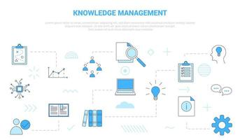 knowledge management concept with icon set template banner vector