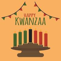 Happy Kwanzaa - cute simple greeting card. African American Christmas ethnic cultural holiday. Candle holder kinara with traditional seven candles - black, red, green vector
