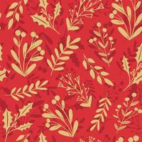 Beautiful winter season, Christmas, New Year floral seamless pattern background. Holly berry, mistletoe plant silhouette on red background. Festive vector backdrop, seasonal textile design.
