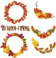 Set of watercolor painted Autumn Leaf Frame, Leaves clipart. Hand drawn isolated on white background vector