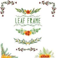 Set of watercolor painted Leaf Frame, Green leaves clipart. Hand drawn isolated on white background vector
