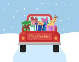 Red truck car carrying gifts. Rear view. Merry Christmas text. Snow falling. Its time to buy presents. Vector concept illustration.
