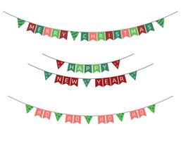 Christmas flags garlands. Vector set of New Year triangular holiday buntings. Text Merry Christmas, Happy New Year and Ho ho of Santa. Decorations collection