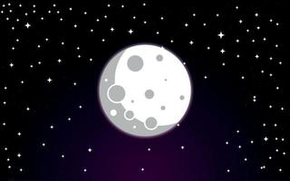 outer space galaxy moon and stars in the night sky vector illustration