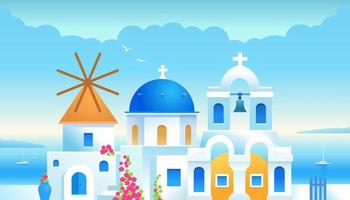 Santorini. Greece. Buildings of Greek architecture with the Aegean Sea. Traditional Greek white houses with blue roofs and a mill with flowers and greenery vector