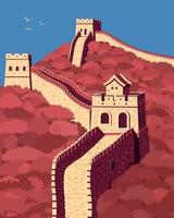 Great Wall of China in 3 colors. Landmark of China. Vector illustration.