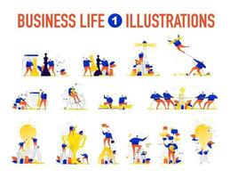 Illustrations of business situations. The team is solving problems. vector