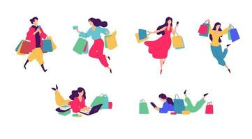 Cheerful shoppers characters illustration. vector