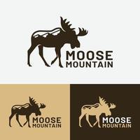 Moose Elk Deer Bull Mountain Hill Logo Design Template vector
