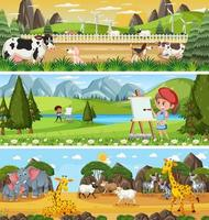 Set of different panoramic nature landscape with cartoon character vector